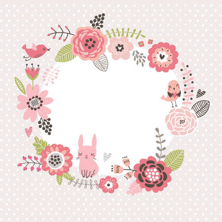 Floral background. Wreath frame with cute birds and a hare. Flowers card