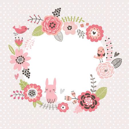 Fondo floral. Marco de la guirnalda con los pájaros lindos y una liebre. tarjeta de flores Foto de archivo - 70281268