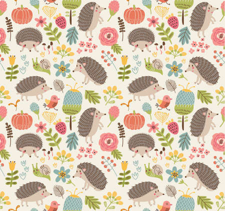 thrush: Seamless pattern forest with hedgehogs
