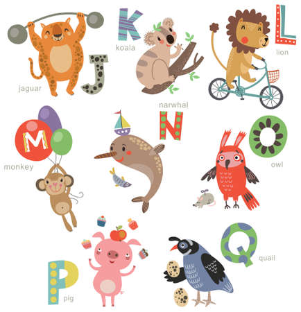 Zoo Alphabet for children. Set of letters and illustrations. Cute animals Illustration