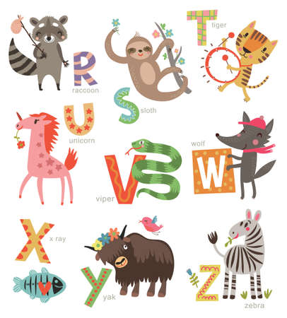 Zoo Alphabet for children. Set of letters and illustrations. Cute animals Çizim