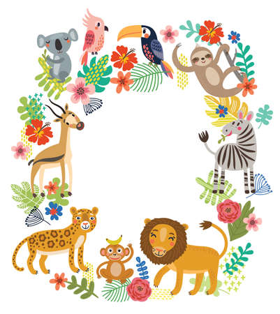 Animals of the jungle. Vector frame Illustration