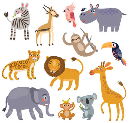Animals of the jungle. Vector set of characters