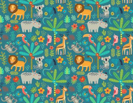 Motif sans couture avec des animaux de la jungle Banque d'images - 77627476