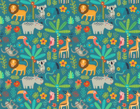 Seamless pattern with jungle animals