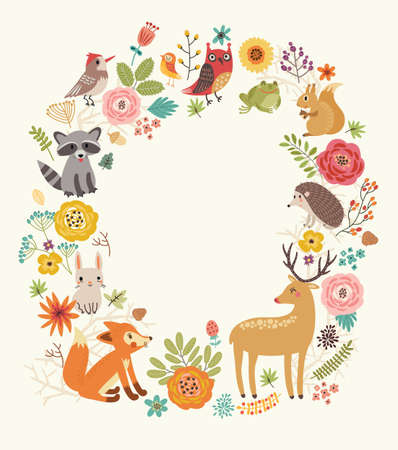 Forest background with animals 일러스트