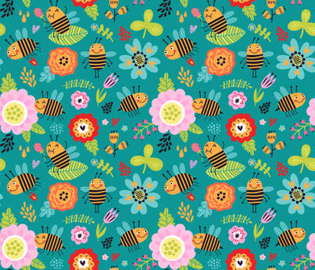 Seamless pattern with insects Insects, beetles and flowers