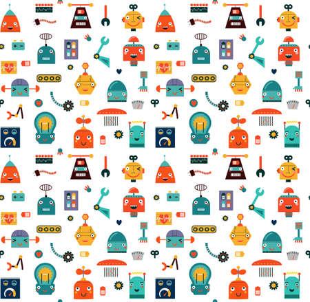 Robots naadloos patroon Stock Illustratie