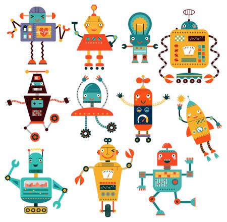 Set cute robots