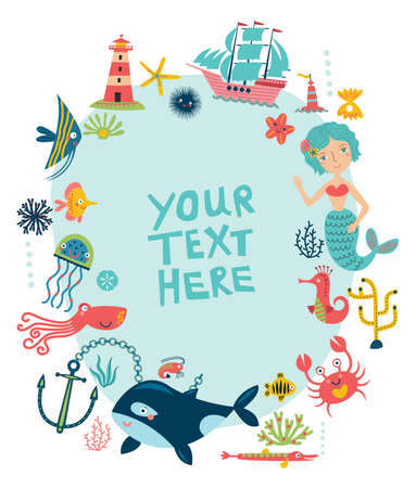 Cute illustration of a beach theme design template.