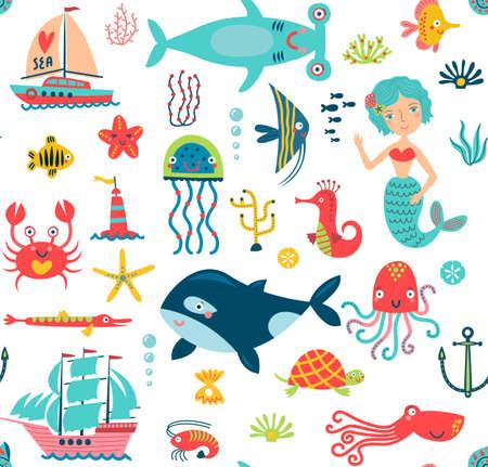 Marine life seamless pattern Ilustração