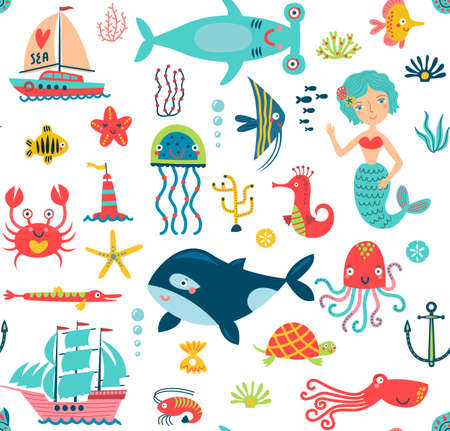 Marine life seamless pattern Illustration