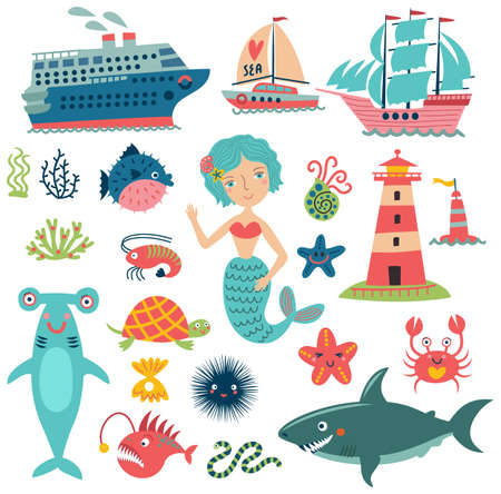 Ship, lighthouse and sea life Stock Illustratie