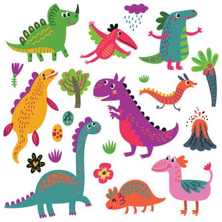 Dinosaurs set Ilustrace
