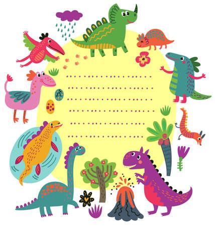 Dinosaurs card Illustration
