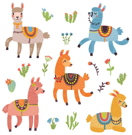 Lama set characters Stock Illustratie