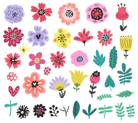 Flowers collection set. Illustration