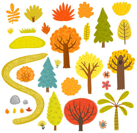 childish: Forest trees collection set.