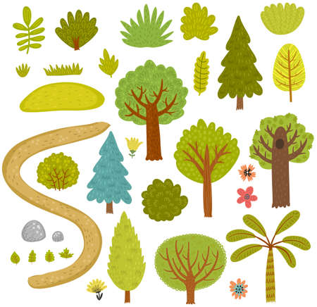 Forest trees collection set.
