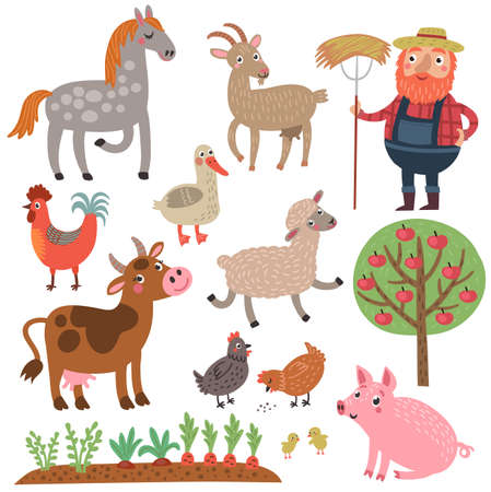 Ranch animal characters set collection. Imagens - 87644075