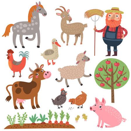 Ranch dierenkarakters set collectie. Stockfoto - 87644075