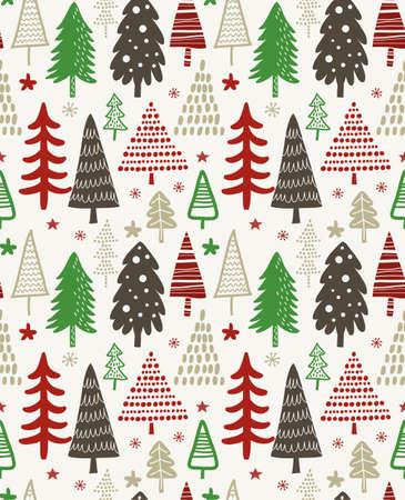 クリスマス ツリーのパターン デザイン。  イラスト・ベクター素材