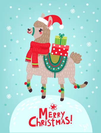 Christmas card with llama 일러스트