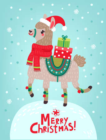 Christmas card with llama 向量圖像