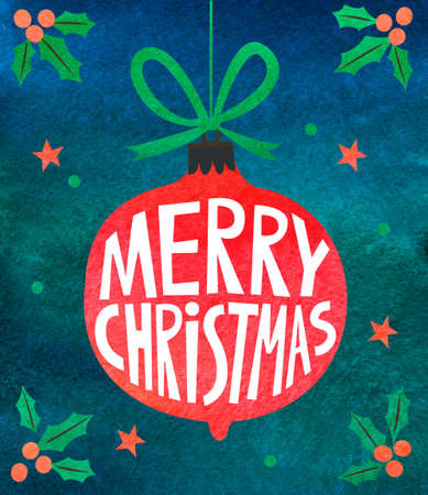 Watercolor christmas card Stock Photo - 87644080