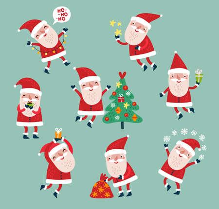 Santa Claus characters set vector collection