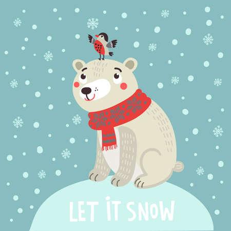 Polar bear Christmas card 向量圖像