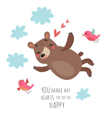 Bear valentines card Stock fotó - 94074655