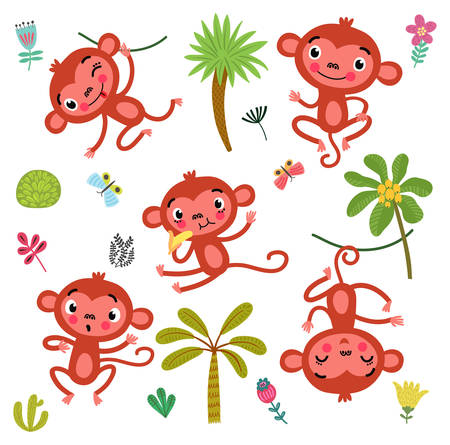 5 Cute monkeys Иллюстрация