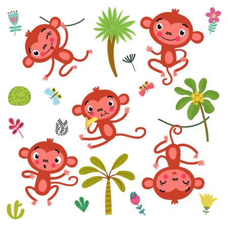 5 schattige apen Stock Illustratie