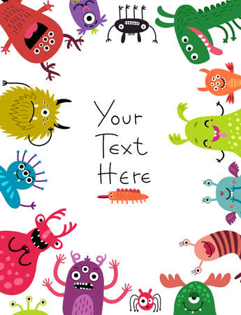 Colorful monster border frame with space for text at the center. Vectores