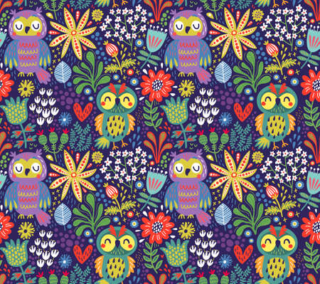 Illustration of a floral seamless pattern with owls Ilustração