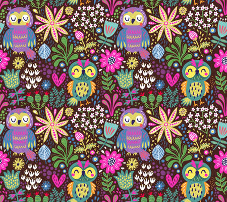 Seamless Pattern with Owls Vector illustration.  イラスト・ベクター素材