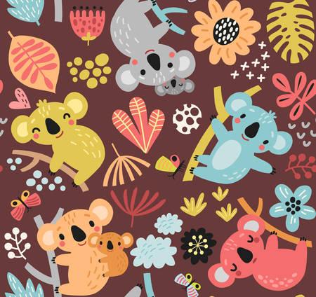 Seamless pattern with koala