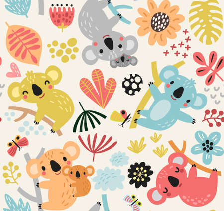 Seamless pattern with koala