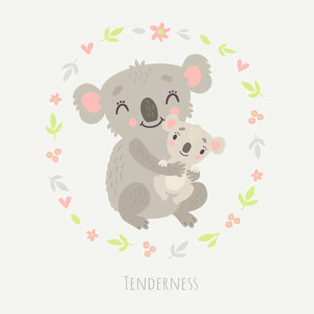 koala with cub icon 向量圖像