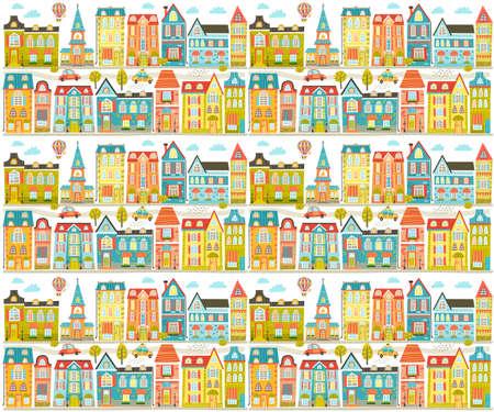 Cute Town pattern  イラスト・ベクター素材