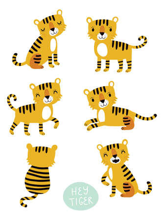 Tiger vector set 일러스트