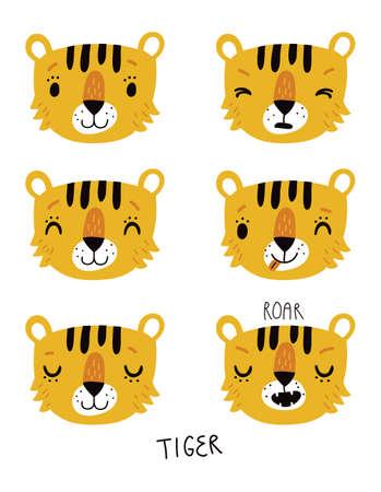 Tiger vector set  イラスト・ベクター素材