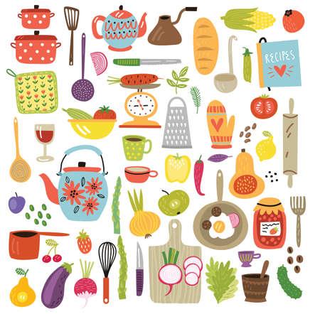 Kitchen vector set  イラスト・ベクター素材