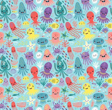 Pattern with cute octopus Vektoros illusztráció