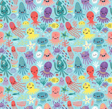 Pattern with cute octopus