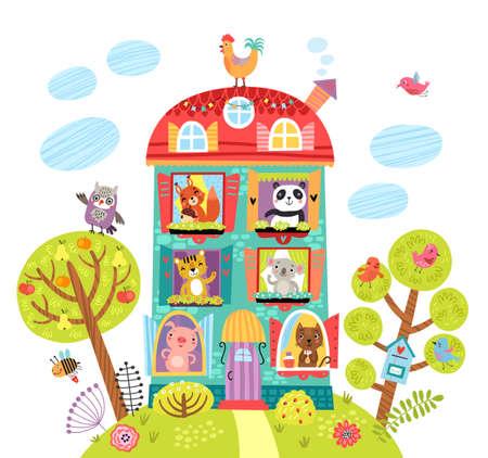 Linda ilustración con animales en la casa. Ilustración de vector