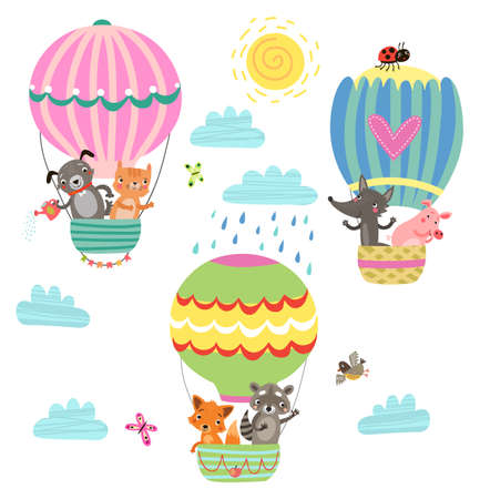 Animals fly in a hot air balloon. Illustration Çizim