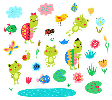 Turtles, frogs, fish, set of vector characters