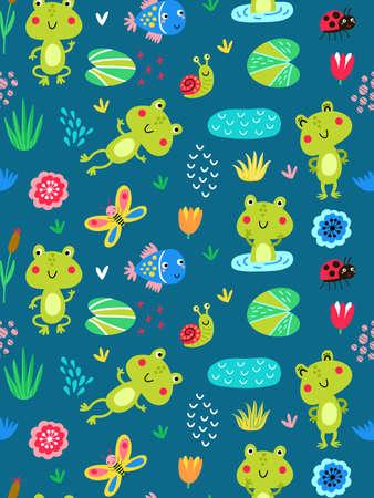 Patrones sin fisuras con ranas